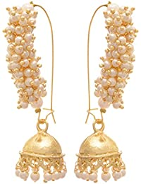 JFL - Traditional And Ethnic One Gram Gold Plated Gold Bead Designer Jhumki Bali Earring For Girls N Women