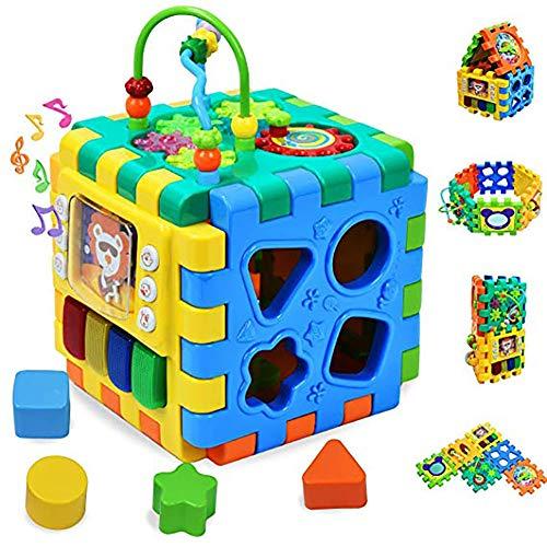 Outtybrave 6-in-1-Baby Multi-Learning Cube Musik und Licht Form Sorter Aktivität Zentrum frühe Entwicklung Lernspielzeug Kinder Baby Kinder, Musik Aktivität Cube Baby Spielzeug