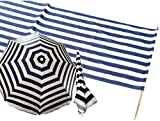 Iden Windschutz Sichtschutz Baumwolle 8,00m x 0,80m (8m + Sonnenschirm, Blau/Weiß)