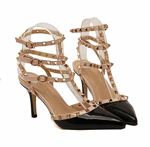 Nieten Sexy High Heels Sandalen Bankett Nachtclub Schuhe (EU38=CN38=24cm, schwarz)