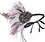 Coucoland 1920s Stirnband Feder Damen 20er Jahre Stil Charleston Haarband Great Gatsby Damen Fasching Kostüm Accessoires (Mehrfarbig)