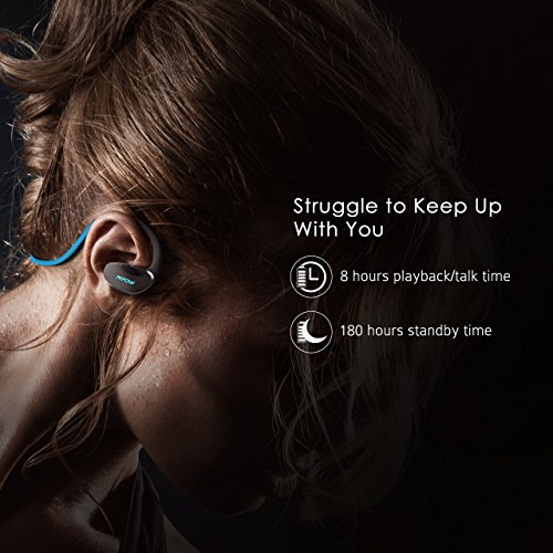 Running Headphones, Mpow 2nd Gen Cheetah Bluetooth Sport Headphones Bluetooth 4.1 with AptX Wireless Headset Earphones Sweatproof Earbuds, Hands-free Calling for iPhone,Samsung, Sony, LG, etc.– Blue
