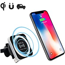 Qi Cargador Inalámbrico Coche Magnetico , DOCA Standard Wireless Charger Car para iPhone X , iPhone 8 / 8 Plus ,Samsung Galaxy S8 , S8 Plus,S7 , S6 Edge , Note 8 , Note 5 , para Otros Qi Equipados Moviles - Negro
