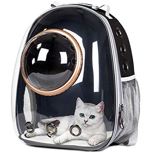 Roofeel Astronaut Space Capsule Atmungsaktive Auto Fahrrad Fenster Blase Katze Hund Reise Tragetasche Transparente Pet Carrier Rucksack (Schwarzgold-Ring)