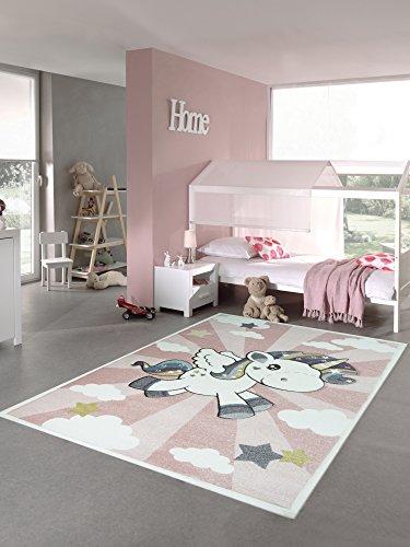 Carpetia Kinderteppich Spielteppich Babyteppich Mädchen Einhorn Regenbogen rosa Creme Größe 120x170 cm