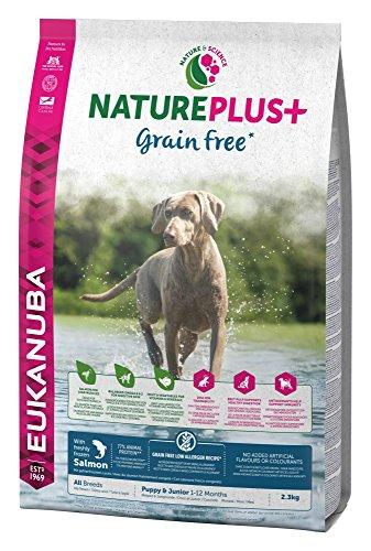 Eukanuba NaturePlus+ Grain Free Welpenfutter für alle Rassen - Getreidefreies Trockenfutter für Welpen im Alter von 1-12 Monaten in der Geschmacksrichtung Lachs - 1 x 2,3kg Beutel