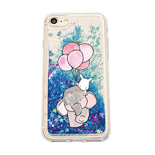 finoo | Iphone 6 Plus / 6S Plus Flüssige Liquid Blaue Glitzer Bling Bling Handy-Hülle | Rundum Silikon Schutz-hülle + Muster | Weicher TPU Bumper Case Cover | Elefanten Schaukel Hase Elefant Hase Ballons