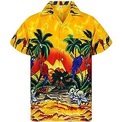 V.H.O. Funky Camisa Hawaiana, Parrot, Amarillo, XL