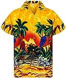 V.H.O. Funky Hawaiian Shirt, Parrot, Giallo, L
