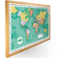 Butler and Hill Green Coloured World Traveller Wall Map Framed in Dark Wood