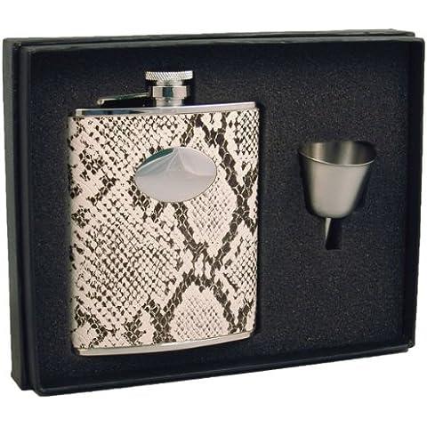 Visol Slither Snakeskin Pattern Leather Liquor Hip Flask Gift Set, 6-Ounce, White by Visol - Liquor Flask Gift Set