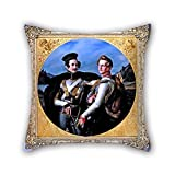 Das Öl Gemälde Wilhelm von Schadow–Double Portrait Of Princes Friedrich Wilhelm von Preußen und Wilhelm zu-Braunfels in einer cuirassi Kissen von 40,6x 40,6cm/40von 40cm Dekoration