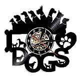 Zhiyi Schallplatten-Wanduhr, Hunde, Ø 30cm