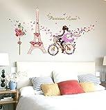 Best Engomadas del arte y Adhesivos de Hadas - LuckES Eiffel Bicicleta Chica Decoración 3D Decor Adhesivos Review