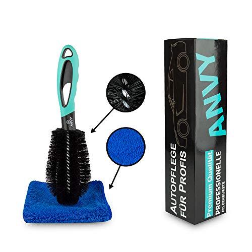 ANVY Premium Felgenbürste mit beschichtetem Draht, inklusive Microfasertuch. Für schnelle Reinigung von Alufelgen. Mit Anti-Kratz Technologie, Perfekt für Ihr Auto, Motorrad oder Fahrrad
