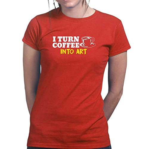 Womens Coffee To Art Canvas Drawing Wall Ladies T Shirt (Tee, Top) Red