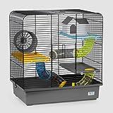 CTC-Trade | Hamsterkäfige Grau Außenmaße 49x32,5x52,5 Mäusekäfig Nager Hamster Plastik Kleintier Käfig mit Zubehör