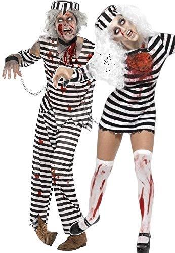Fancy Me Herren & Damen Paar Kostüm Zombie Sträfling Gefängnis Gefangener Halloween Party Kostüme Kostüm Outfits - Schwarz, Schwarz, Ladies UK 12-14 & Mens Large