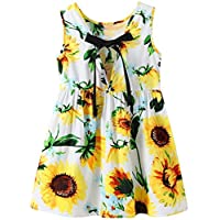 EULLA Girls Vintage Flower Dresses with Bowknot Sleeveless Beach Party Casual Toddler Age 2 To 7 Years