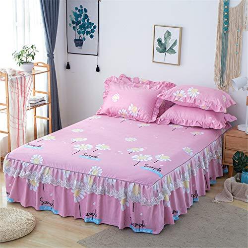 WENXIAOXU Weiche blätter Bett schoner Bezug mit Nässeschutz,Schutz Warm Atmungsaktive schoner Baumwolle WasserundurchFreizeit Anti-Allergisch,Gebürsteter Faltenbettrock B-2 200 * 220 * 45cm (4er-Set) -
