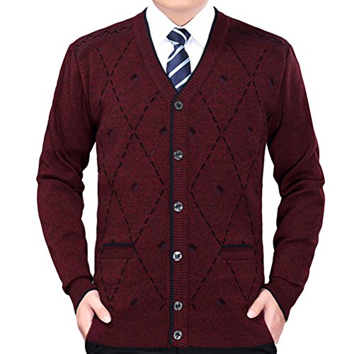 Zhhlinyuan Herren Pullover Mens Men's Father Casual British Style Lightweight Stretch Comfortable Shrink-proof Long Sleeve V Neck Knit Knitted Cardigan Sweatshirt Sweater (Pullover Cardigan Style Golf)
