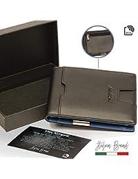 TwoSteps Portafoglio Uomo Vera Pelle Blocco RFID Intelligente Porta Carte  Di Credito Clip Wallet Fermasoldi Banconote 6711d8d43fcf