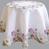 Tischdecke bunt bedruckt mit Blumenwiese RUND 170 cm weiß mit Digitaldruck Blumen - Sommer Chic Tischwäsche Typ407