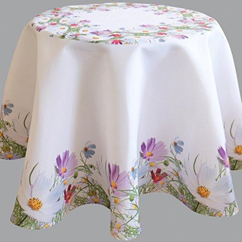 Fashion&Joy Tischdecke bunt bedruckt mit Blumenwiese RUND 170 cm weiß mit Digitaldruck Blumen - Sommer Chic Tischwäsche Typ407