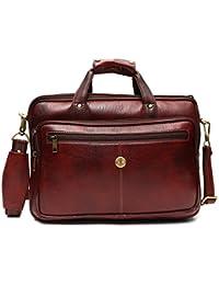 """Hammonds Flycatcher Leather 15.6"""" Brown Laptop Briefcase"""