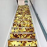 Treppenaufkleber 3D Pvc Kreative Einfache 13Pcs Gold Mark Treppenaufkleber Schritt Aufkleber Wandaufkleber