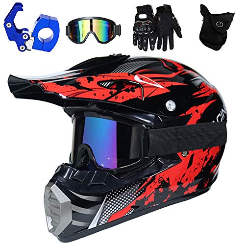 PKFG® Casco Motocross Rojo Negro Set, HG-02 Adulto Niño Full Face Motorcycle Cross Helmet con Gafas Guantes Mascarilla Ganchos Casco,...