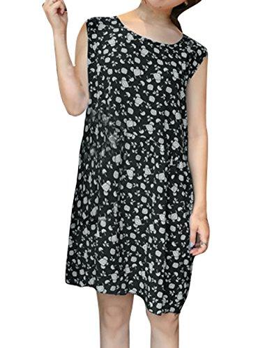 sourcingmap Femmes Sans Manches Imprimés Floraux Dos Découpe Robe Tunique Noir