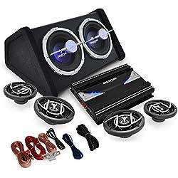 Auna Blackline 520 Set Audio per Auto Hifi (5 Canali x 1200 Watt, Super Bass Boost Commutabile, Filtri regolabili, Telaio in Alluminio, Cavi Inclusi) Nero