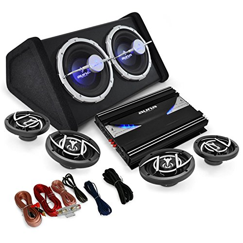 4.1 Auto Lautsprecherset Set Black Line 520 5000W Endstufe Verstärker 16cm Boxen Subwoofer