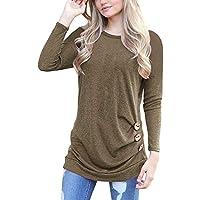 ¡Gran promoción!★Rovinci★ Blusas de Las Mujeres Color sólido Bohemio Impreso Botón de Manga Larga Blusa Casual O Cuello Tops Camisetas