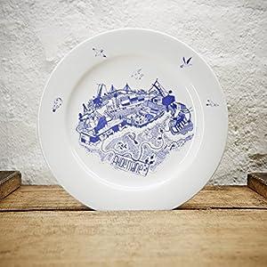 Maritimer Teller Hafenliebe - Handmade von Ahoi Marie - Porzellan Speise-Teller original aus dem Norden