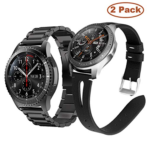 Yayuu Compatible Samsung Galaxy 46mm/Gear S3 Frontier/Classic Bracelets de Montre, 22mm Bande en Acier Inoxydable Métal+Cuir Sangle Sport Strap pour Moto 360 2nd 46mm Smart Watch (métal+Cuir)