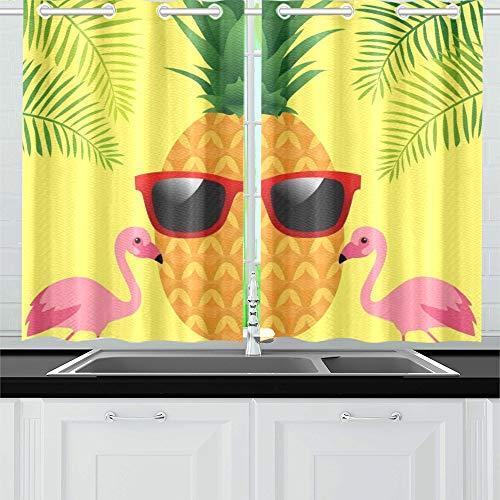 JOCHUAN Aloha Typografie Ananas Sonnenbrille auf Palm Küchenvorhänge Fenster Vorhangebenen für Café, Bad, Wäscherei, Wohnzimmer Schlafzimmer 26 x 39 Zoll 2 Stück