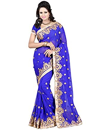 New Attractive Royal Blue color Embriodery Georgette saree