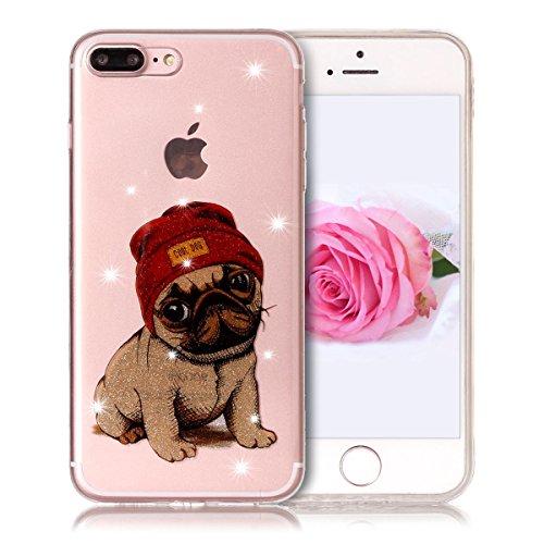 Coque iPhone 7 Plus, SpiritSun Clair Transparente Etui Coque en Silicone pour iPhone 7 Plus (5.5 pouces) Flexible TPU Housse Etui Souple Silicone Etui Coque de Protection Mince Légère Etui Téléphone D Chien