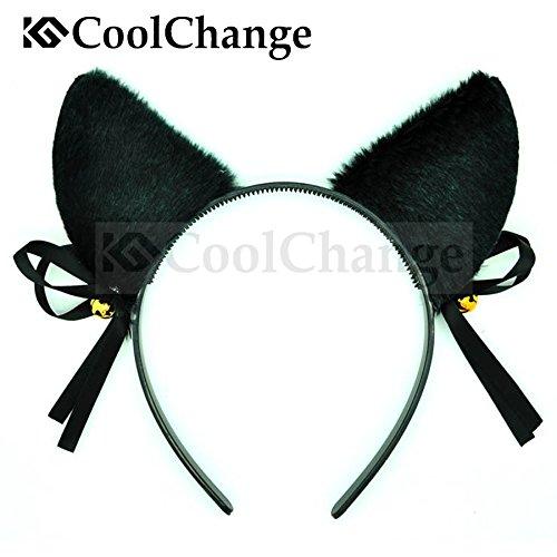 Katze Tail Kostüm Schwarz - CoolChange Süßes Katzen Set bestehend aus Haarreif mit Katzenohren und Schwanz, Schwarz