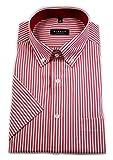 eterna Herren Kurzarm Hemd Comfort Fit Button-Down-Kragen gestreift Patch 3054.K14L (Rot/Weiß, W48, Länge Kurzarm)
