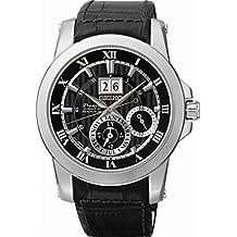 Seiko Herren-Armbanduhr XL Premier Kinetik Perpetual Analog Quarz Leder SNP093P2