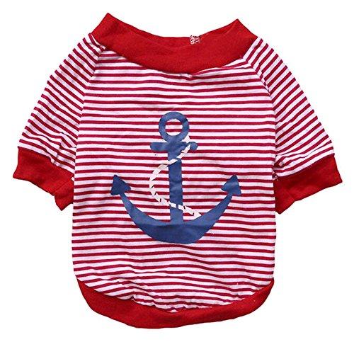 Reinigen Sie Lustige T-shirts (Lopetve Hundebekleidung Sweatshirt Hundeshirt Hundekleidung Anker Streifen Hundepulli Welpenshirt T-Shirt für Hunde Katzen Haustier Rot L)