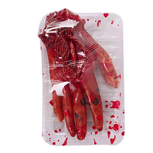 Leezo Halloween Gruselige Requisite Blutige Hand Menschlichen Körper Teile Fake Abgetrennt Hand Fuß Herz Gehirn ESS-Box Rep für Halloween Party Indoor Outdoor Female Blood Hand Dining Box