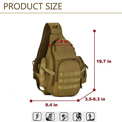 Freedom-vp Damen Herren Military Tactical Umhängetasche Brusttasche Rucksack mit einem Gurt Sling Bags einseitige Rucksack Crossbag Uni Rucksack für Radfahren Wandern Camping Freizeit Braun-1