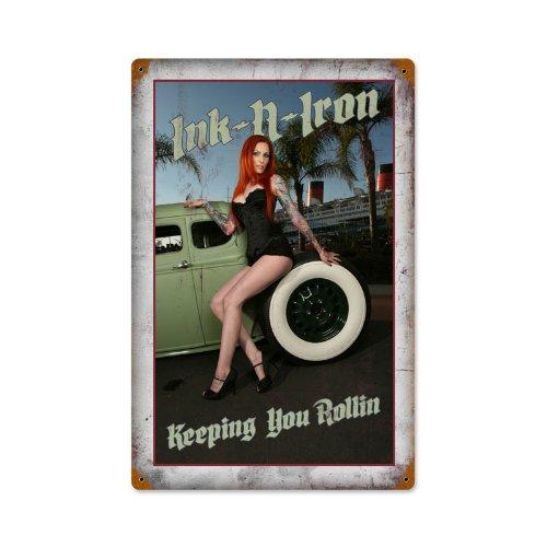Past Time Schilder ink013Tinte und Eisen Rolling Automotive Vintage Metall Schild -