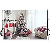 WaW 7x5ft Weihnachten Fotografie Kulissen Warm und süß Weihnachten Foto-Studio Sekt Weihnachtsbaum Kamin weiße Wand Samt Teppich Weichen Sofa Innenraum Foto-Hintergrund Mikrofaser (2.2x1.5m)