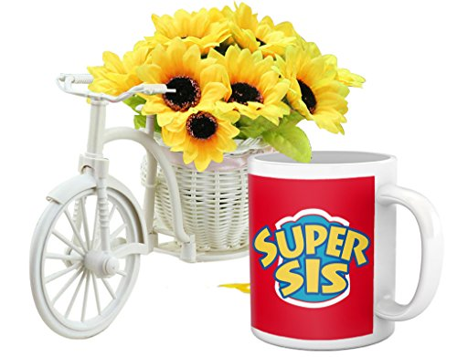 TiedRibbons® Designer for Sister (Coffee Mug and Cycle Vase with Flower)