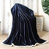 Yachee Kuscheldecke 200x230cm Flauschige Wohndecke Blau - hochwertige Decke warm & weich Microfaser flanelle Fleecedecke, Kuschelige Wohndecke/Sofadecke/Reisedecke